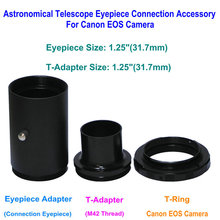 "T-Adapter 1.25"" and T-Ring for Canon EOS Camera and Extended Sleeve M42 Thread for Astronomy Telescope Photography"