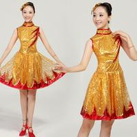 Modern Dance Folk Dance Costumes Costumes Dress Skirt Fashion Stage Sequins Women Square Dance Dress