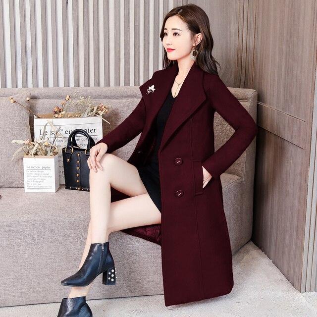 Plus Size 4XL Vintage Winter Coat Women Double-Breasted Elegant Long Wool Coat Abrigo Mujer Autumn Woolen Coat Warm Parka C4892 2