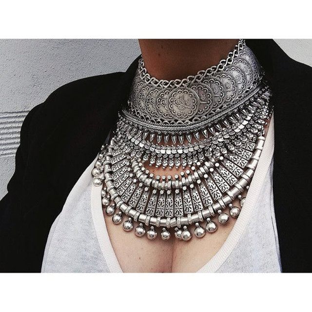 Ethnic Bib Statement Necklace Silver/Golden Carving Round Charm Ball Coin Zamac Choker Necklaces Earrings For Women Jewelry