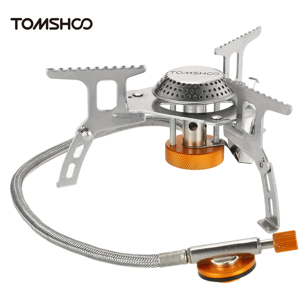 Image 2 - TOMSHOO Outdoor Camping Stove Gas Stove Kit Ultralight Compact Foldable Backpacking Gas Stove with 9 Plate Camp Stove Windscreen-in Outdoor Stoves from Sports & Entertainment