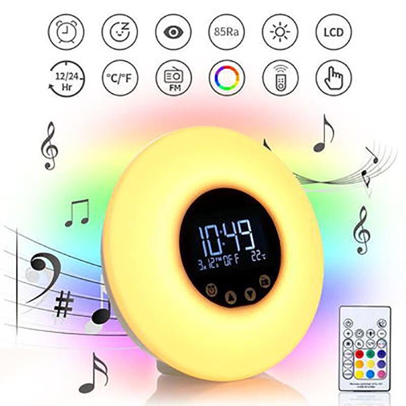 wake up light alarm clock sunrise sunset simulacao toque controldigital 7 cores sons luz relogio com
