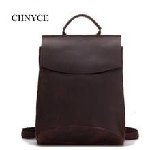 Deep Brown Crazy Horse hide Genuine Cow Leather Men's Solid Cowhide Vintage Casual Travel School Laptop Back Pack  Backpack