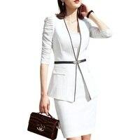 Business formal women white skirt suit summer fashion elegant half sleeve blazer and skirt office Interview plus size Work wear