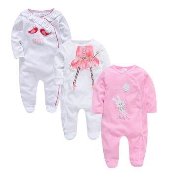 ddbfeb439 Kavkas recién nacido bebes pijamas 3 unids lote bebé mameluco bebé ropa de  algodón de manga larga traje niños niñas mono ropa de bebes