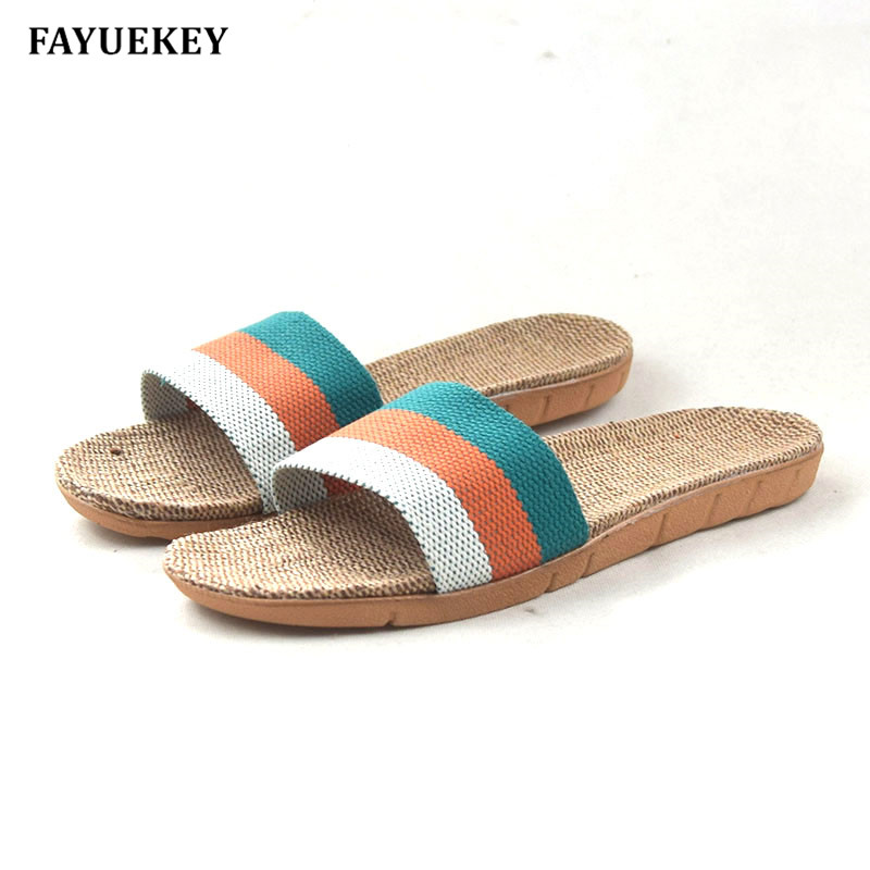 FAYUEKEY 2018 New Fashion Summer Home Linen Non-slip Breathable Women Slippers Floor Outdoor Beach Girls Flat Slides Shoes new arrivals summer linen women slippers brand flat non slip breathable stripe hemp basic slides home sandals charm beach shoes