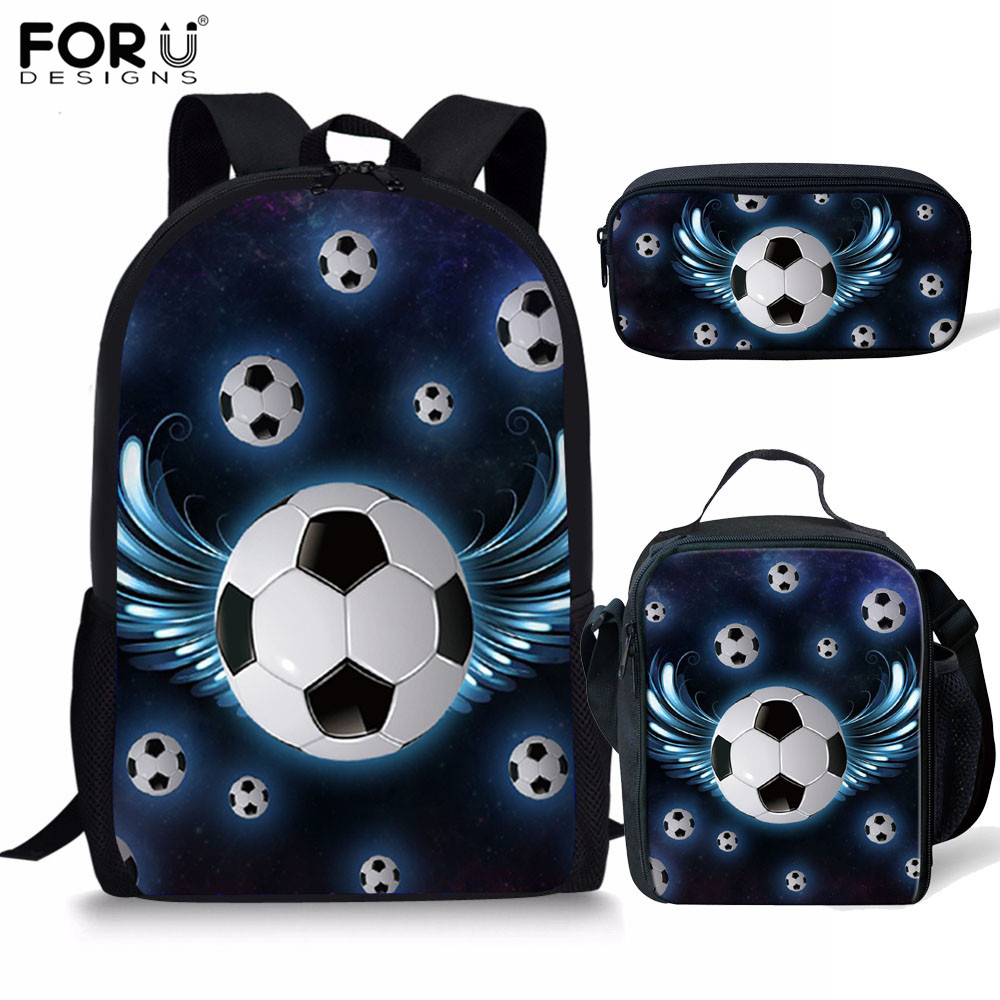 FORUDESIGNS 2019 New Football Pattern School Bags For Boys Orthopedic Backpack In Primary Student Child Book Bag Mochila Escolar
