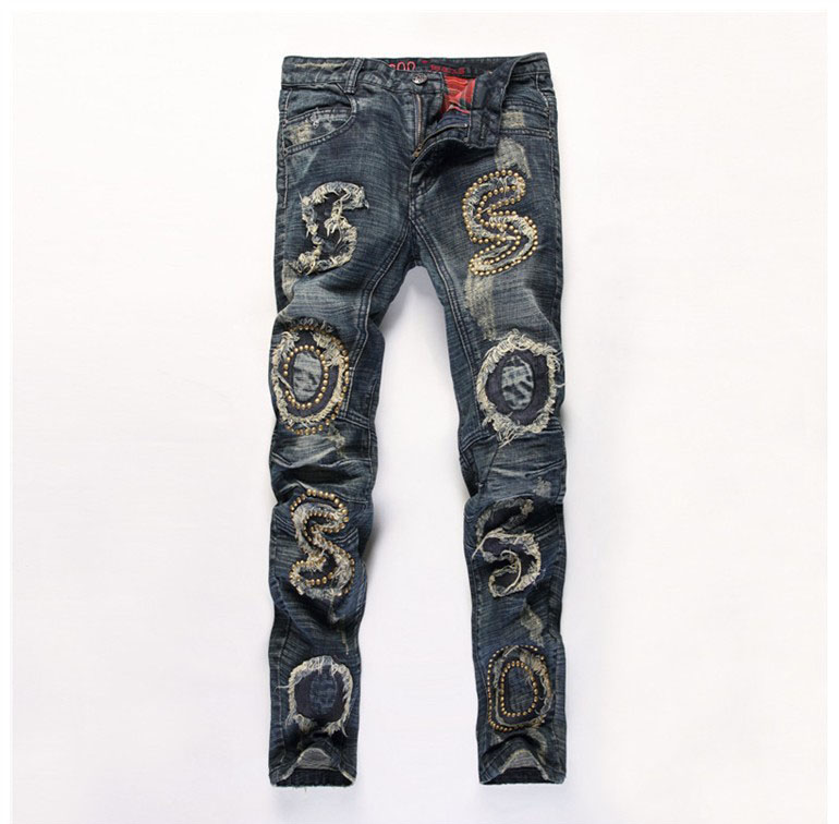 European American Style designer fashion brand men jeans luxury Mens vintage denim trous ...