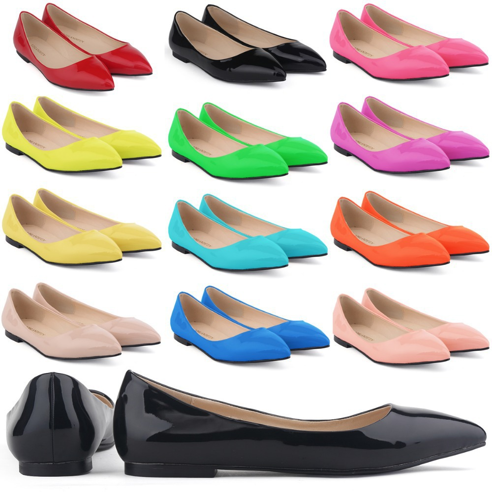 CUTE GIRLS FLAT SHOES FAUX LEATHER PATENT FLATS DOLLY BALLET WOMEN SHOES  MIX US SIZE 4 11-in Women s Flats from Shoes on Aliexpress.com