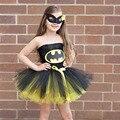 Batman Crianças Meninas Vestido Tutu Vestido de Festa a Fantasia Mulher Maravilha Superman Superhero Halloween Natal Aniversário TS089
