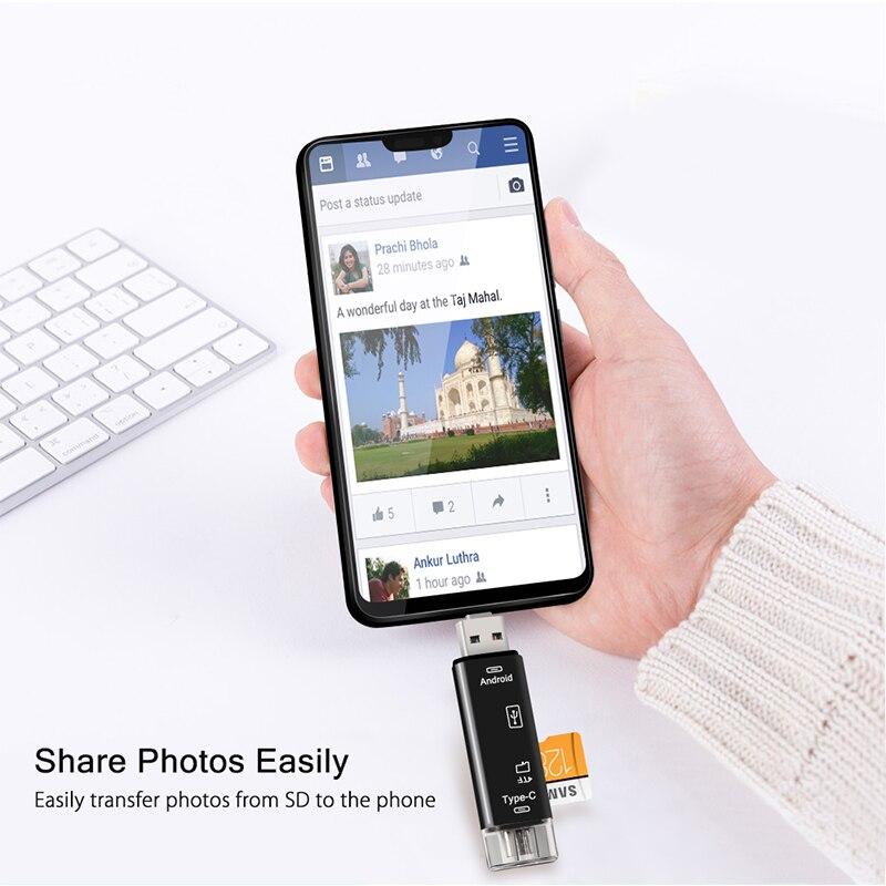 Natrberg USB палка считыватель Тип C Micro SD USB OTG карта адаптер 3 в 1 USB-C флэш-накопитель TF чтение для Android мобильного телефона ПК Mac