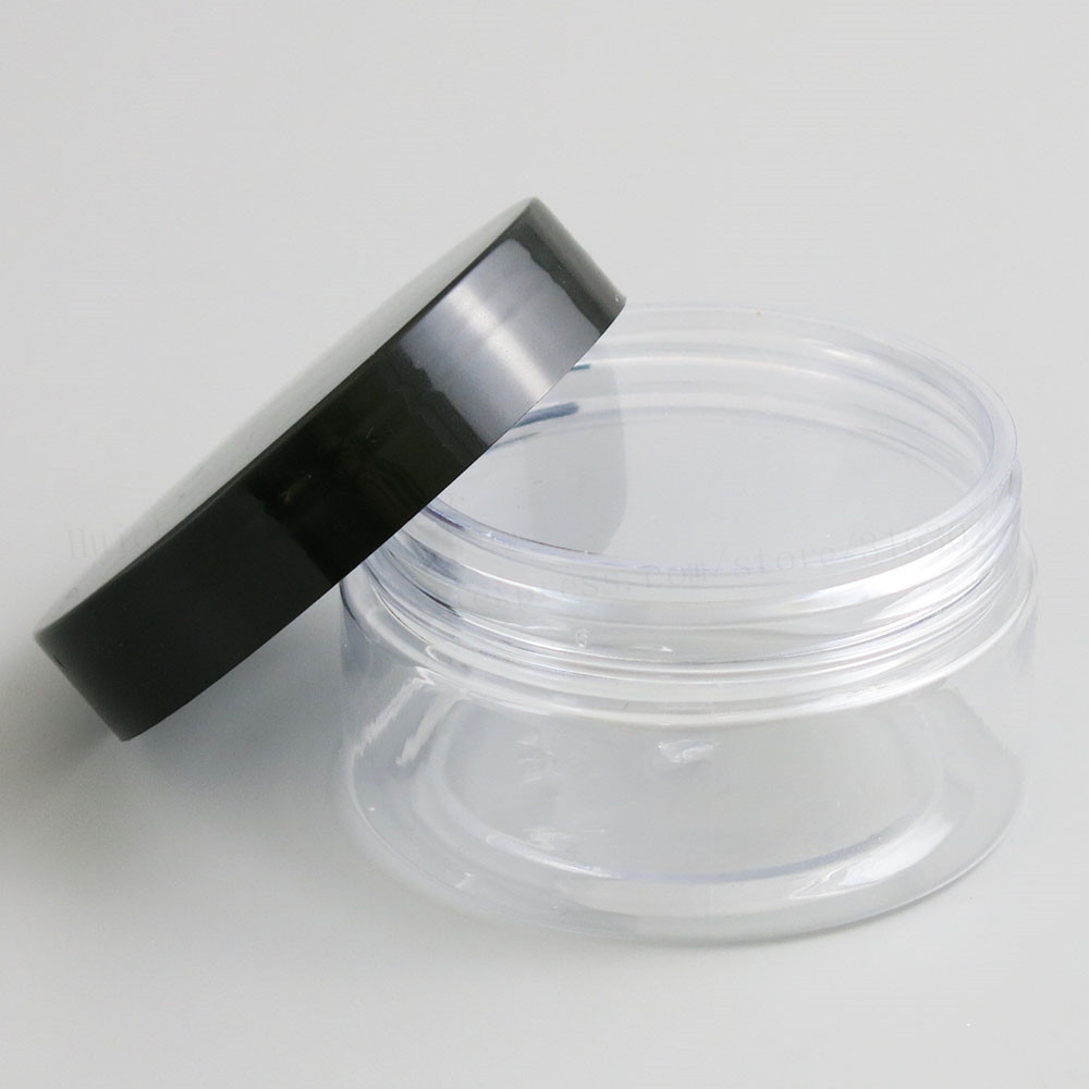 Купить с кэшбэком Wholesale Bulk 20 x 100g Clear Transparent Medium Plastic Cosmetic Jar Packaging Containers With PE Pad Plastic Screw Lids