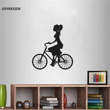Pegatina de vinilo para pared de bicicleta Vintage para montar en bicicleta para chicas de joyresin, decoración artística de dormitorio para niñas A0334