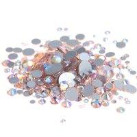 Champagne AB Non Hotfix Crystal Rhinestones Flatback Round Facet Strass Stones Shiny Glue On Glass Chatons