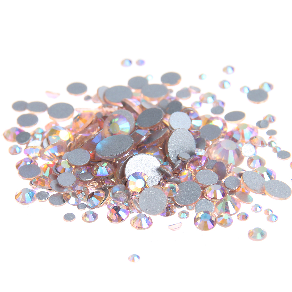 Champagne AB Non Hotfix Crystal Rhinestones Flatback Round Facet Strass Stones Shiny Glue On Glass Chatons DIY Nail Art Supplies super shiny ss3 ss40 clear crystal ab 3d non hotfix flatback nail art decorations flatback rhinestones gold foiled stones