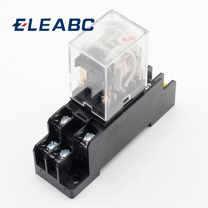 цена на 1pcs MY2P HH52P MY2NJ relay 220V AC coil high quality general purpose DPDT micro mini relay with socket base holder