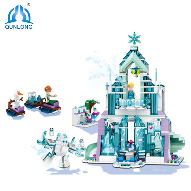 Qunlong Model Building Kits Compatible Legoings City Elsa Magical Ice Castle 3D Blocks Educational Toys Hobbies For Kids Gifts
