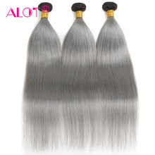 ALOT 1B Grey 2 Tones Dark Root Ombre Human Hair Bundles Deal Brazilian Straight Ombre Hair 3 Bundles Non Remy Hair Weave(China)