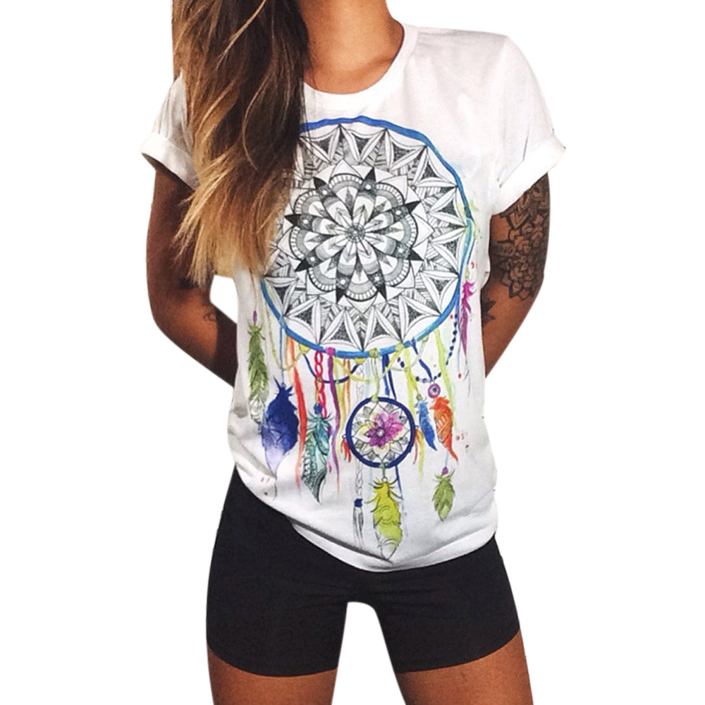 Women Cotton Casual Short Sleeve Letter Print T shirt