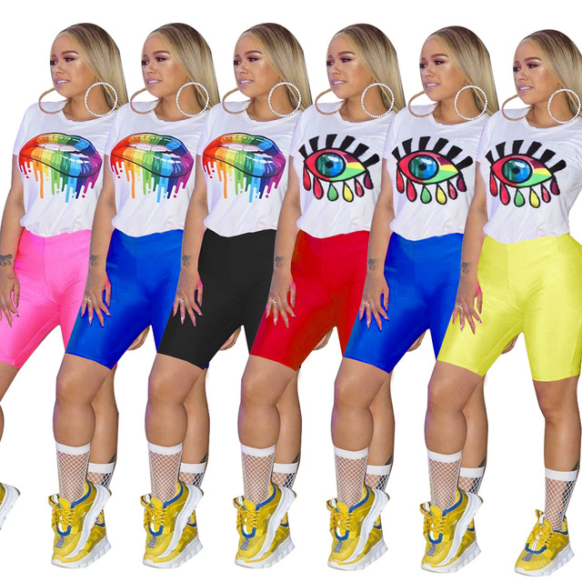 2019 Women Colorful Lip Eyes Cartoon Print O-neck Tee Top Skinny Knee Length Pants Suit 2pcs Set Sporting Outfit Tracksuit 3693