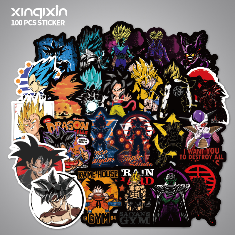 100 PCS Skateboard Fashion Dragon Ball Waterproof Sticker For Luggage Car Guaitar Skateboard Phone Laptop Bicycle Stickers