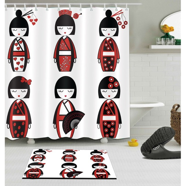 LB Cute Japanese Black Red Kimono Girl White Shower Curtains Bathroom Curtain Fabric Polyester With Mat