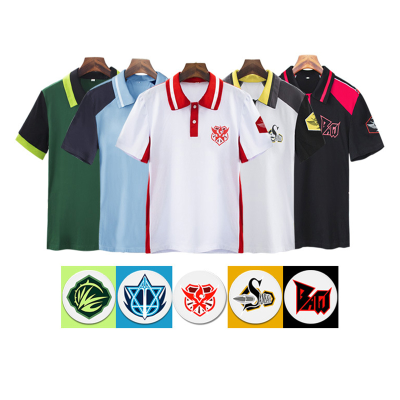 Game The King Avatar Cosplay Costume School Uniform Sport T-Shirt with Badge Summer Short T-Shirt