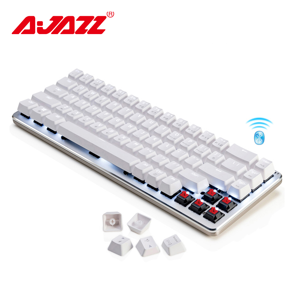Ajazz Zinc Wireless Keyboard Cherry Switch Aluminum Plate 68 Keys Mechanical Gaming Keyboard White Backlit Dual-mode Bluetooth