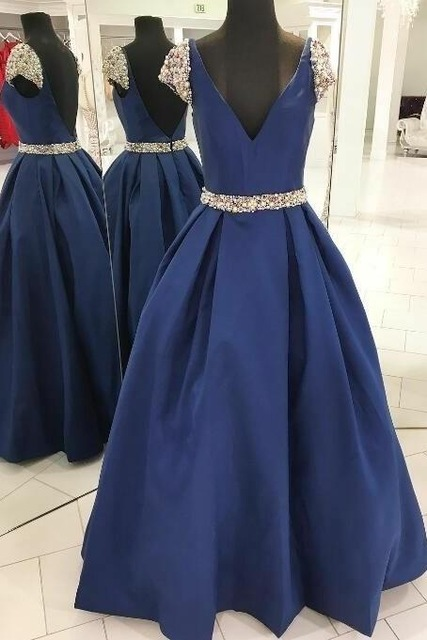 Bright Prom Dresses 2019 Hot Fashion Royal Blue Beaded Long Formal Gown V Neck Robe De Soiree Floor Length Party Evening Dress