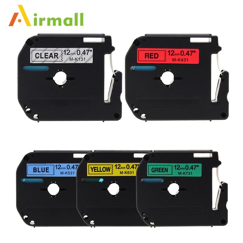Airmal 5pcs Compatible Brother P-touch M Tape M-131 M431 M531 M-631 M731 Label Tape for Brother P Touch Label Maker PT-90 PT-M95