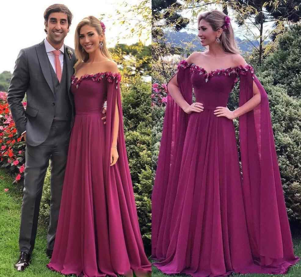 e2525348f3fa Detail Feedback Questions about Saudi Arabia Purple Chiffon Evening Dresses  2019 Off Shoulder Long Red Carpet Celebrity Formal Prom Party Gowns for  Women ...