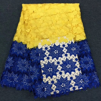 (5yards/pc) beautiful yellow and blue African two colors big cord lace fabric with lots of stones high quality for dress  CWS79