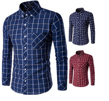 Classic Brand New Plaid Men's Casual Shirt Social Shirt Full Sleeve Turn Down Collar