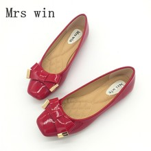 Brand Women Shoes Slip-On Square Toe Butterfly Knot Woman Flats Ladies Casual Soft Single Shoes Zapatos Mujer Moccasin-Gommino