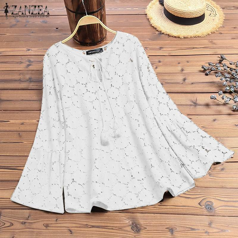 2019 Fashion Women Sexy Lace Blouse ZANZEA Ladies Tops Shirts Long Sleeve Hollow Out Blusas Work Office Tunic Chemise Plus Size