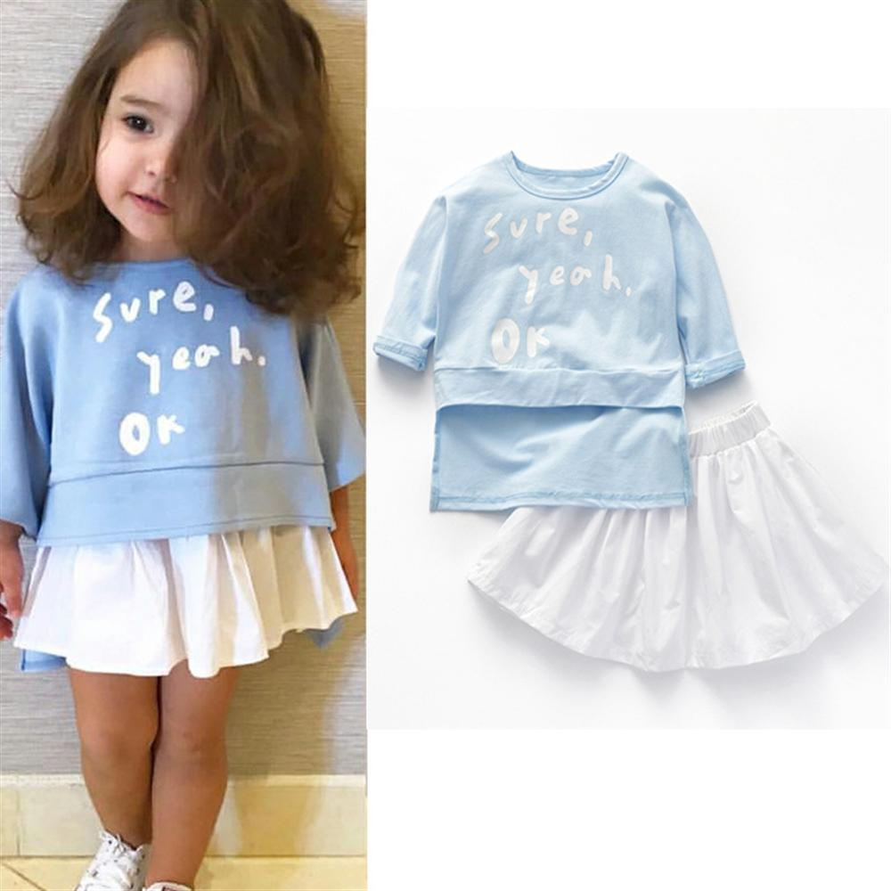 2018 New Fashion Girls Clothes 1 2 3 4 5 6 Year Spring Summer Children Clothing Set Letter Printed Shirts White Skirts Kids Suit 11pcs precision er11 spring collet set 2 2 5 3 3 5 4 4 5 5 5 5 6 6 5 7mm