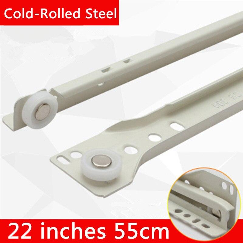 2 paires 22 pouces 55 cm acier laminé à froid deux Sections meubles glissière tiroir piste glissière Guide Rail accessoires
