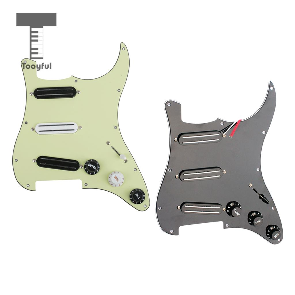 3 Ply Loaded Pickguard&Dual Rail Pickup Set for Electric Guitars white 3 single coil pickup loaded pre wired sss pickguard set for fenderstrat st guitar parts