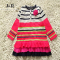 New Baby Striped cakes sweater girls Handmade three-dimensional hook flower Cotton dress wholesale