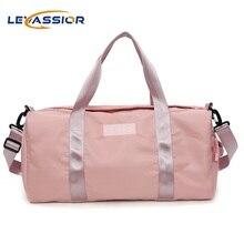 купить Pink Sports Gym Bags for Women Duffel Shoulder Handbag Fitness Train Bags Waterproof and Portable Swimwear Travel Tourist Bag по цене 1214.37 рублей