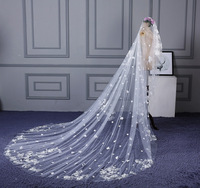 Bride's wedding veil lengthened by 3 M * 4 m long flowers tugged with a wedding veyers long cathedral wedding veil