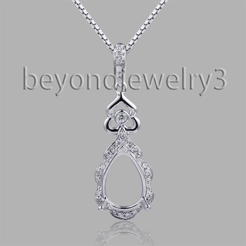 Fine Real Diamond Pendant 7x10mm Pear Semi Mount Pendant In 18K White Gold For Girl WP073