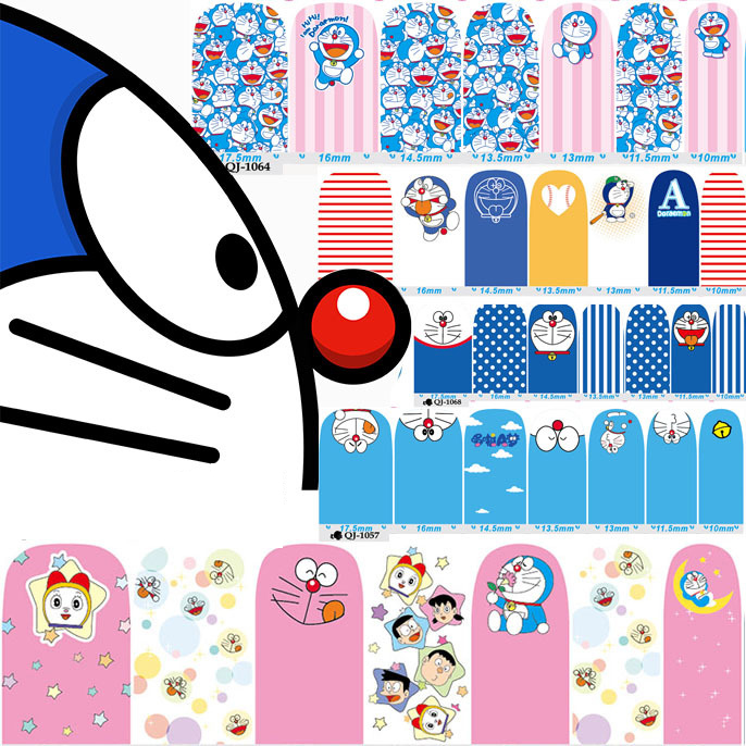 14pcs/sheet 12 type Doraemon Nail Wraps 3D Full Nail Sticker Designs Nail Stickers Decals Makeup Tattoos Manicure Tool