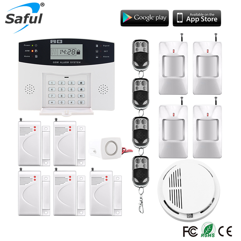 Top quality LCD Display Wireless GSM &Home Security Alarm System SMS and Smoke Sensor Russian/English/Spanish/French voice russian french spanish voice quad band gsm home security alarm system gsm sms intercom lcd display with door security sensor