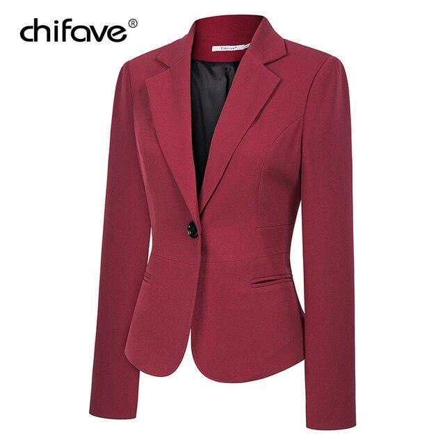 chifave Blazer feminino 2018 Autumn Winter Elegant Women's Short Jacket Plus Sizes Office Style Slim Wine&Black Blazer Jackets 1