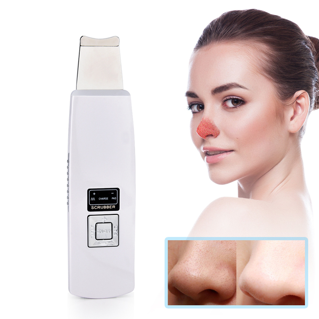 Ultrasonic Facial Skin Cleaner Exfoliating Pore Removal Skin Care Blackhead Acne Peeling Vibration Face Massager Skin Scrubber