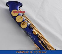 Professional Blue Lacquer and Gold Keys Soprano saxophone sax Curved bell High F# G New