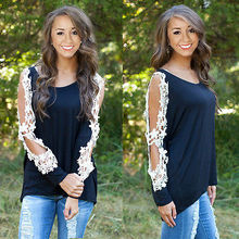 NEW Women's Loose LACE Long Sleeve Casual Black Shirt Tops Fashion