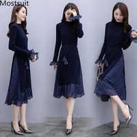 Vestido largo de punto de dos piezas falso de las mujeres de talla grande de gasa de retales de manga de llamarada con vestidos de cinturón Vintage coreano Vestido Mujer