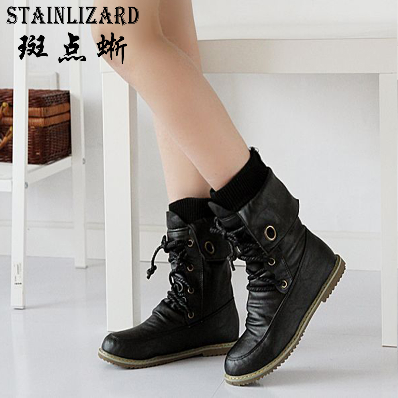 Plus size fashion winter autumn women snow boots Solid leather motorcycle mid-calf boots women lace up flat female shoes DDT674 цена